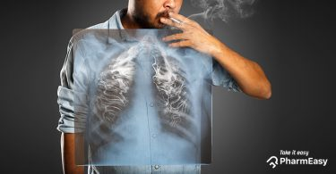 Lungs being filled with smoke